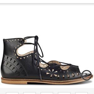 Nine West Oketa Lace-Up Flat Sandal Sz 6 1/2